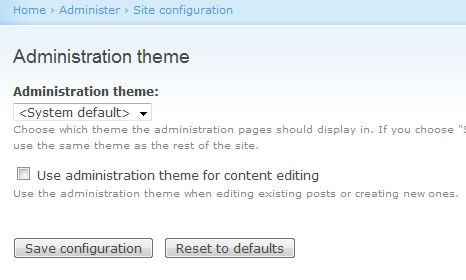 Change the Drupal Admin theme