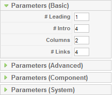 Frontpage Parameters