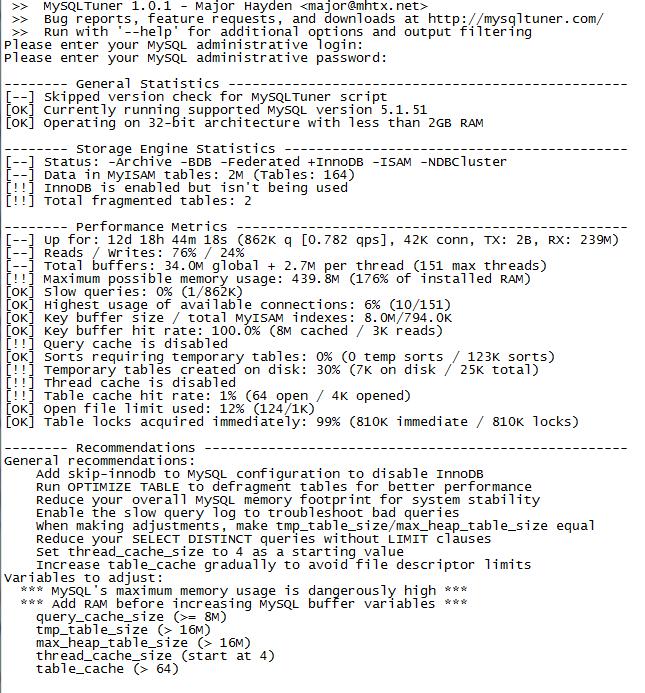 MySQL Tuner Screenshot