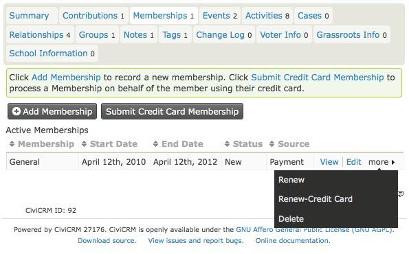 CiviCRM Membership Tabs